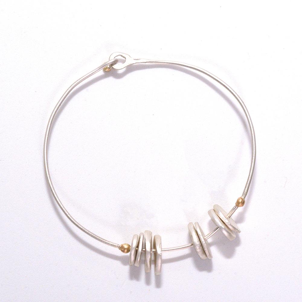 Pulsera artesanal plata circular