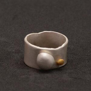 Anillo artesanal ancho bola de plata