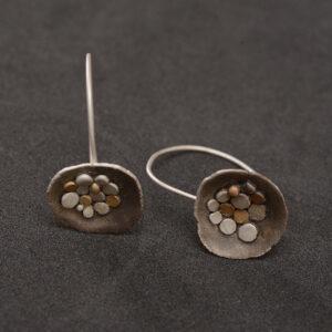 Pendientes artesanales plata oxidada