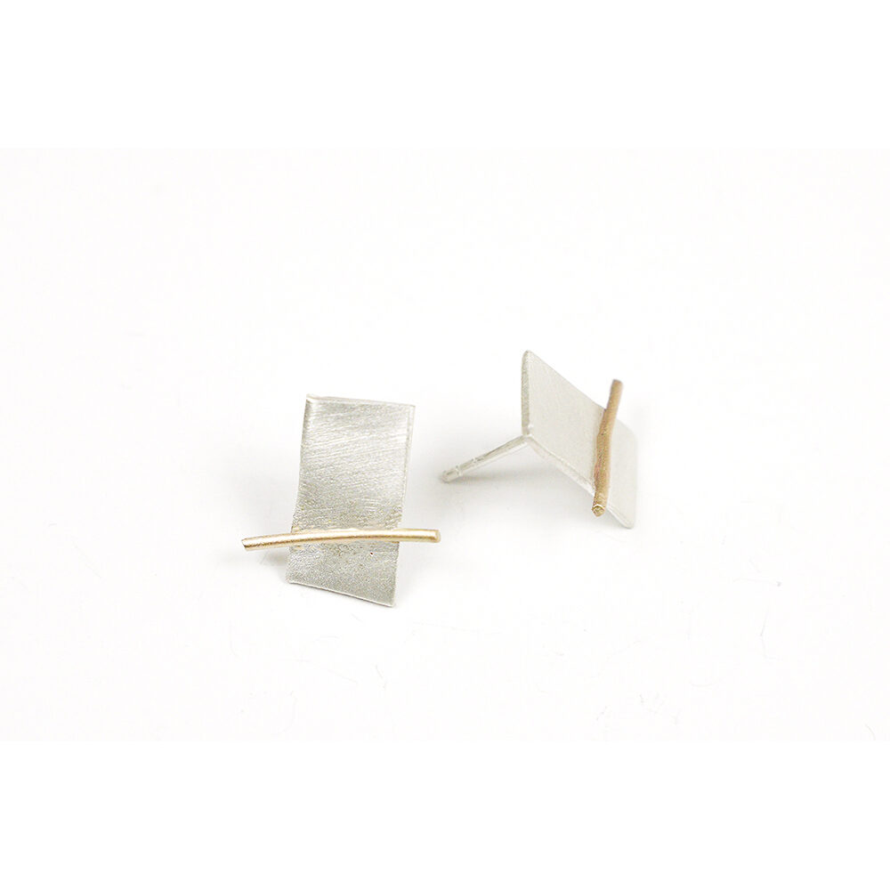 Pendientes artesanales rectangulares de plata