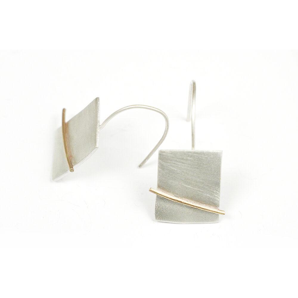 Pendientes colgantes artesanales rectangulares plata
