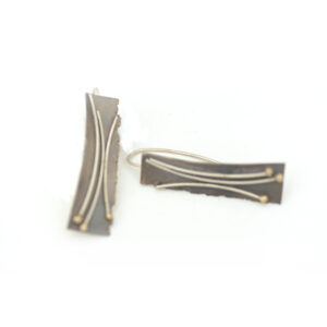 Pendientes artesanales plata y bolitas oro