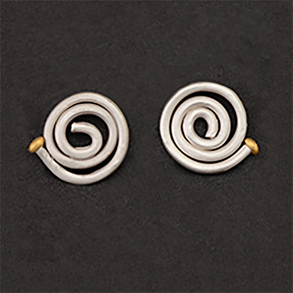 Pendientes artesanales espiral plata y bolita de oro